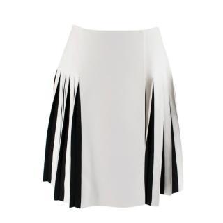 Alaia Black & White Pleated Knit Wrap Mini Skirt