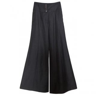 Chanel Grey Wool High Waisted Pants