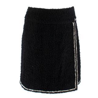 Chanel Black Tweed Metallic Trim Wrap Skirt