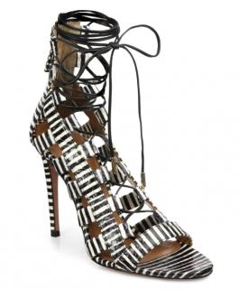 Aquazzura Amazon Striped Leather Lace Up Sandals