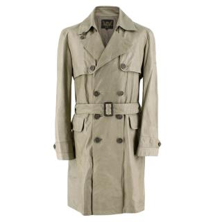 Cloak Green Leather Trench Coat