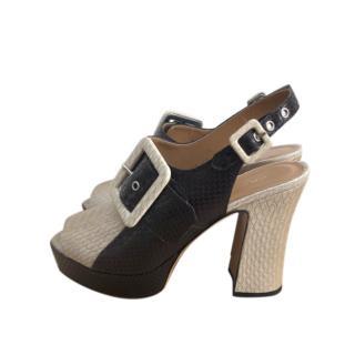Dries Van Noten Two-Tone Snake Embossed Slingback Sandals