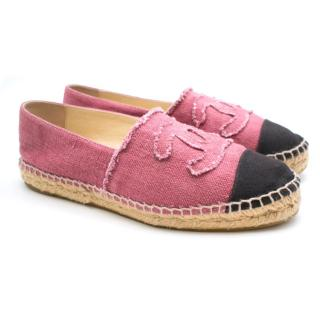 Chanel Pink & Black CC Canvas Espadrilles