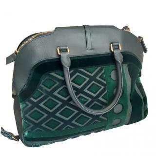 Burberry Prorsum Green Velvet & Leather Tote Bag