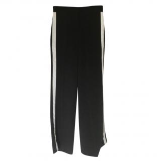 Burberry Black Wide Leg Pants with White Side Stripe