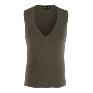 Gucci Grey V-Neck Knit Vest