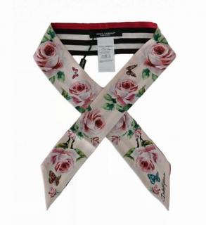 Dolce & Gabbana pink roses print silk scarf