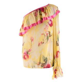 Dolce & Gabbana Asymmetric Silk Floral Blouse