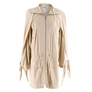 Chanel Cream Drawstring Cotton Blend Lightweight Trench Coat