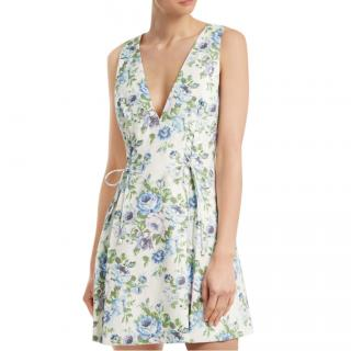 Zimmermann Breeze V-neck Floral Linen Lace-Up Dress