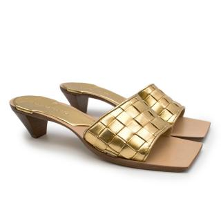 Bottega Veneta Gold Tone Intrecciato Square Sandals