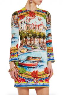 Dolce & Gabbana Long Sleeve Embellished Postcard Dress