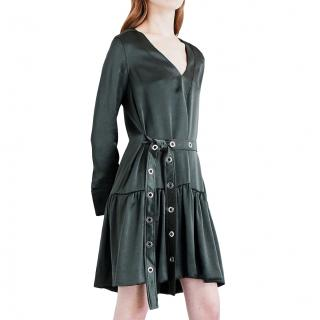 Sandro Olive Satin Dress with Eyelet Detailed Belt