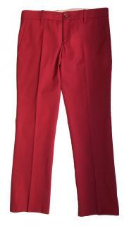 Gucci Red Wool Ankle Crop Wool Pants