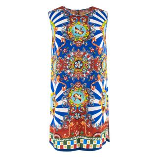 Dolce & Gabbana Sleeveless Majolica Print Tunic Dress