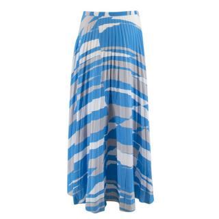 MaxMara Pleated Blue Printed Midi Skirt