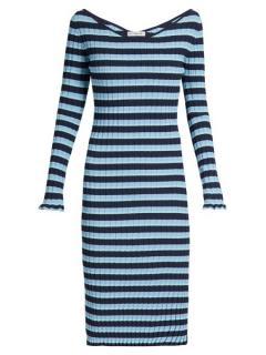Altuzarra Socorro Off-the-shoulder Striped Stretch-knit Dress