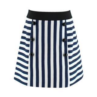 Dolce & Gabbana Navy & White Striped Mini Skirt