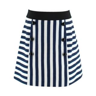 Dolce & Gabbana Navy & White Striped Mini Skirt