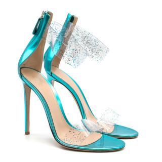 Gianvito Rossi Blue Glitter Ankle Strap Open Toe Heels