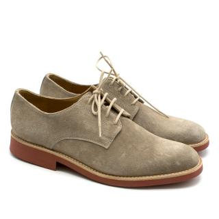 Gallucci Natural Suede Derby Shoes in Taupe