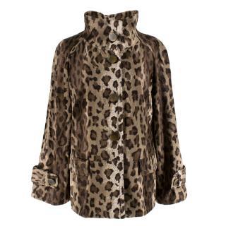Gerard Darel Leopard Print Faux Fur Jacket