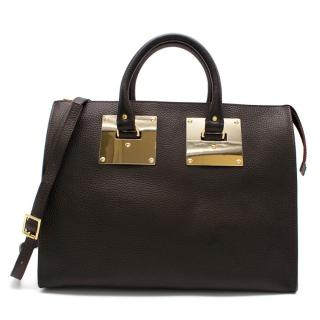 Sophie Hulme Aubergine Leather Zip-top Bowling Bag