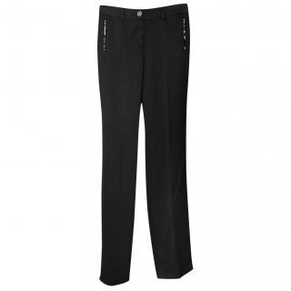 Chanel Black Silk Straight Leg Pants