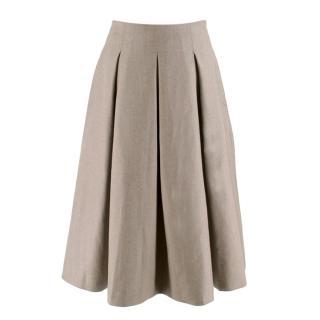 MaxMara Oatmeal Wool Large Pleat Midi Skirt