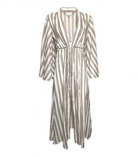 Alexandra Miro Taupe Striped  Beach Dress