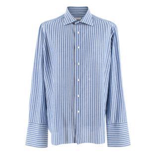 Donato Liguori Blue & White Bespoke Hand Tailored Striped Shirt