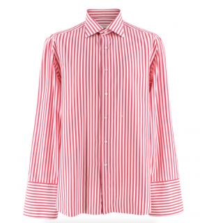 Donato Liguori Pink & White Hand Tailored Striped Shirt