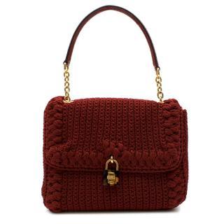 Dolce & Gabbana Maroon Woven Crochet Handbag