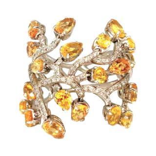 Piranesi Diamond & Yellow Sapphire Vine Ring