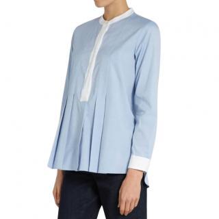 Max Mara Pale Blue Pleated Shirt