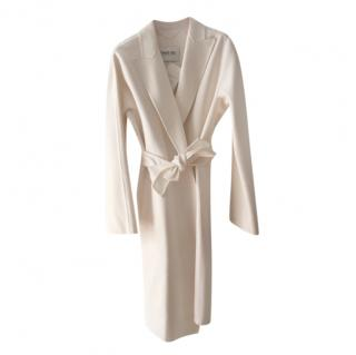 Max Mara White Angora & Virgin Wool Wrap Coat