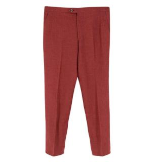 Donato Liguori Red Hand Tailored Cotton Trousers