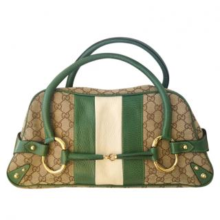 Gucci Green Monogram Canvas Bowling Bag