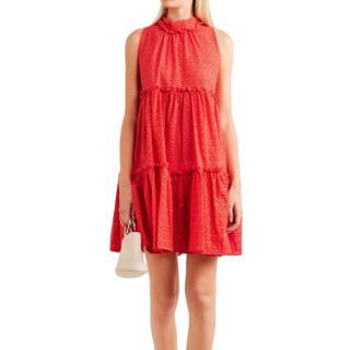 Lisa Marie Fernandez Red Broderie Anglaise Dress