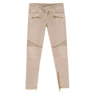 Balmain Stone Distressed Skinny Biker Jeans with Zips