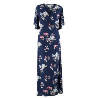 Islas Navy Floral Wrap Midi Dress