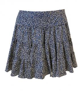 Balenciaga Silk Tiered Printed Mini Skirt