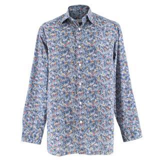 Donato Liguori Blue Floral Bespoke Tailored Shirt