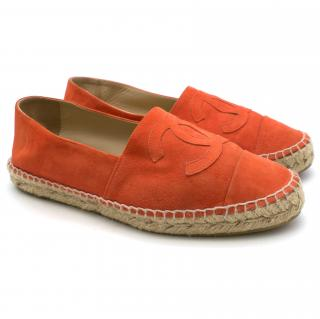 Chanel Coral Red Suede Espadrilles