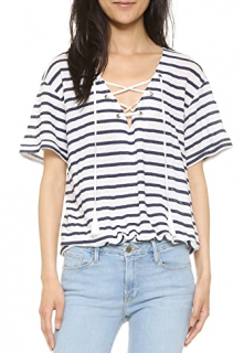 Anine Bing Lace-Up Linen Striped Top