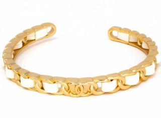 Chanel White Calfskin CC Open Chain Bangle
