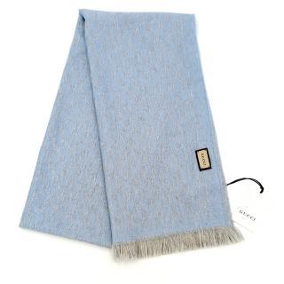 Gucci Reversible Baby Blue Monogram Wool Scarf