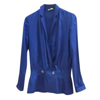 Versace Blue Satin Wrap Style Blouse