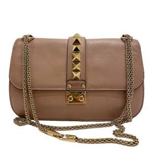 Valentino Taupe Rockstud Shoulder Bag