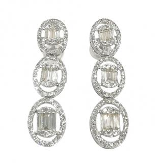 Cred Diamond Cluster Drop Earrings in White Gold